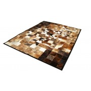 Peau de vache India Patchwork marron et blanc