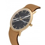 Analog Watch Classic Black Marble Dial & Tan Strap Watch GT-CB