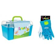 Garden Tool Box Case with Tools and 1 Pair of Childrens Gardening Gloves