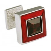 Mousie Bean Crystal Cufflinks Square Polo 003 Deep Red/Siam