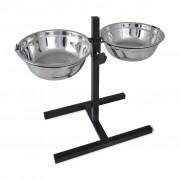 Verstelbare dubbele honden / katten voederbak (2 x 4,1L RVS bakken)