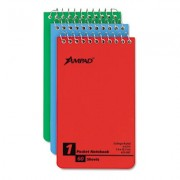Ampad 45093 Wirebound Pocket Memo Book College/Narrow Rule 3 X 5 We 60-Sheet 3/Pk