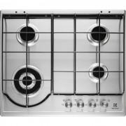 Plita incorporabila Electrolux EGH6243BOX, 4 arzatoare gaz; WOK, Aprindere electrica integrata; 60 cm; Inox