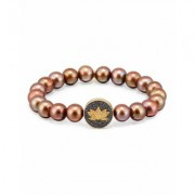 Sydney Evan Brown Potato Pearl Bracelet with Sapphire & Diamond Lotus Station
