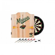 NHL Dart Cabinet Set with Darts and Board Minnesota Wild Gray