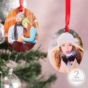 Fényképes ovális karácsonyfadísz 2 fényképpel