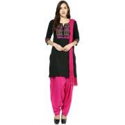 Jaipur Kurtis Pure Cotton Complete Set of Black Kurta and Rani Patiala Duptta