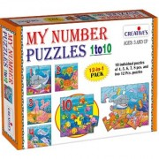 Creatives My Number Puzzles 1 to 10 is a set of 12 puzzles of which 10 have 4 5 6 7 8 Pcs. and two with 12 pcs. for ages 3 above