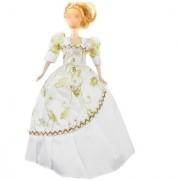 White Flower Barbie Sized Bridal Wedding Dress With Gold Glittery Organza
