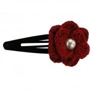 Clama de par, dama, Buticcochet, crosetata manual, Floare Rosu