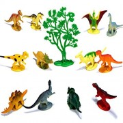 L-Lynn Educational Dinosaur Toys Set Realistic Toy Dinosaurs for Kids 12 Pack with Trees