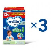 Mellin Kit Prodotti Alimentari - Kit Mellin Crescita 3 in Polvere - 1 Kit = 3 Confezioni da 1,2 kg ℮