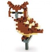 Can enjoy the nano block handy eagle owl yellow pupil lifelike has joined it for light users mini collection series (a