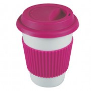 "'Easy to go"": Porcelain coffee mug Pink"