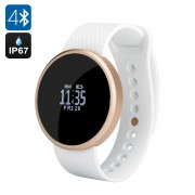 Bluetooth Smart Sports Watch - Ecran OLED, Podomètre, Obturateur à distance, Rappel Appel, IP67, Android + iOS (Blanc)