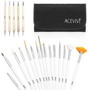 [US STOCK] ACEVIVI 20pcs Nail Art Gel Design Pen Painting Polish Brush Dotting Drawing Tool Set