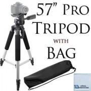 57-Inch Pro Series Aluminum Camera Tripod For Sony Cyber-shot a5100 DSC-RX100 III DSC-RX100 II RX10 HX50V RX100 W710 TX30 HX300 W730 HX400 WX300 WX350 WX80 H300 More + Microfiber Cloth