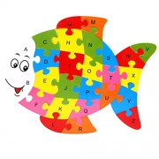 Magideal Set of Wooden Fish Alphabet Puzzle Brain Teaser Toy Kids Alphabets Color Educational Gift Multicolor