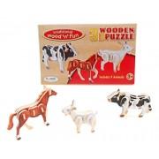 Wooden 3D Farm Animal Puzzle (set of 3)