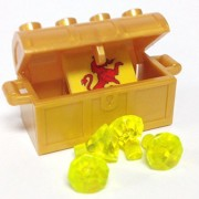 Lego Parts: Treasure Chest/Jewel Pack Bundle (4) 24 Facet Neon Green Jewels (1) Pearl Gold Treasure Chest (1) Coat of Arms Tile