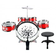 Vt Little Bands Jazz Drums 8 Piece Childrens Kids Toy Drum Musical Instrument Playset W/ 5 Drums, Cymbal, Chair, Kick Pedal, Drumsticks (Colors May Vary)