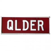 """Novelty Number Plate - Qlder White On Maroon"""