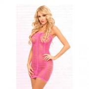 Roze jurk verscheurde look