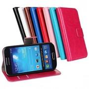 caso louco carteira da aleta de couro de cavalo com suporte de cartão e ficar função para samsung s4 mini-i9190 (cores sortidas)