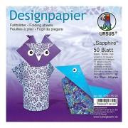 URSUS 22835599 - Design Papier Sapphire, 50 feuilles, 15 x 15 cm, imprimé des deux côtés