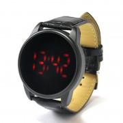 Revole - Montre à LEDs tactile, bracelet cuir, LEDs Rouge