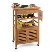 Klarstein Louisiana Kitchen Trolley Serving Wagon 4 Floors Bamboo