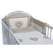 3 piezas ropa de cama de bebé de juego de copas de (cartucho de tinta para ajuste de uno o dos cama y espuma con funda extraíble y espuma con funda extraíble) - diseño de bordado de copos de nieve y corazones beige Talla:cuna - 140 x 70 cm