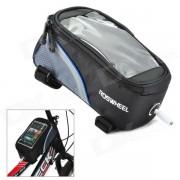 "ROSWHEEL 12496M-B5 4.8"" Bicycle Bike Bag w/ Earphone Jack for Cell Phone - Black + Blue"