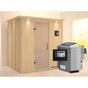 KARIBU Sauna Systemsauna Sodin satiniert mit Dachkranz inkl. 9 kW BioKombiofen ext. Steuerung