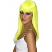 Peruca petrecere glamour galbena neon