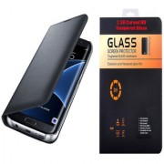 Lava X19 Black Leather Flip Cover with 9H Curved Edge Tempered Glass