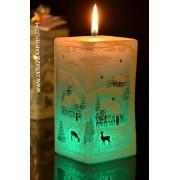 Kerstkaars Rechthoekkig met LED, H: 14 cm