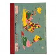 Reisdagboek Notitieboekje - schrift A6 met vintage wereldkaart   Dotcomgiftshop
