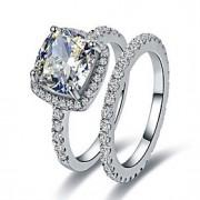 Anéis Mulheres Strass Prata / Pedaço de Platina Prata / Pedaço de Platina 4.0 / 5 / 6 / 7 / 8 / 8½ / 9 / 9½ Prata