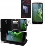 Acer Liquid Zest Plus Z628: Etui Coque Housse Pochette Accessoires Portefeuille Support Video Cuir Pu - Noir + 1 Film De Protection D'écran Verre Trempé
