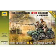 Soviet Motorcycle ?-72 katonai jármű makett Zvezda 3639