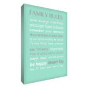 "Feel Good Art - Tela A4 in canvas ""Family Rules"", per la cameretta del bambino, colore: Verde menta"