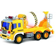 Friction Powered Toy Cement Mixer Truck With Lights & Sound TG640-C – Push & Go Friction Truck Toy By ThinkGizmos...