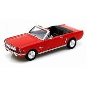 1964.5 Ford Mustang Convertible Red - Motormax Premium American 73212 - 1/24 Scale Diecast Model Car