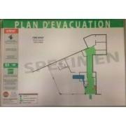 Plan d'évacuation avec consignes de sécurité plastifié