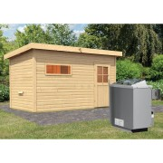 KARIBU Saunahaus Skrollan 3 inkl. 9 kW Saunaofen integr. Steuerung