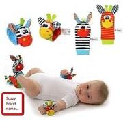 Yontree Animal Infant Baby Kids Wrist Rattle & Foot Finder Set Developmental Soft Toys 4 Pcs