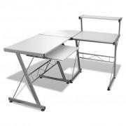 vidaXL PC stôl s výsuvom pre klávesnicu, biely