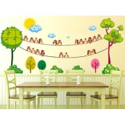 Vinyl Green Trees Round With Birds On String Garden Landscape Wall Decal