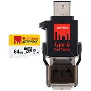 Strontium 64 GB Nitro 85Mbps MicroSD Card with Type-C Reader